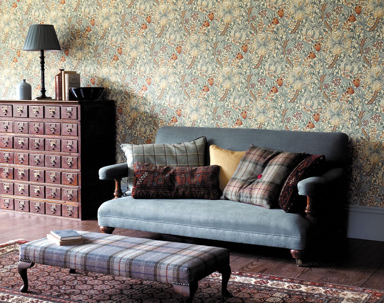 top i heart interiors vintage wallpapers. Black Bedroom Furniture Sets. Home Design Ideas